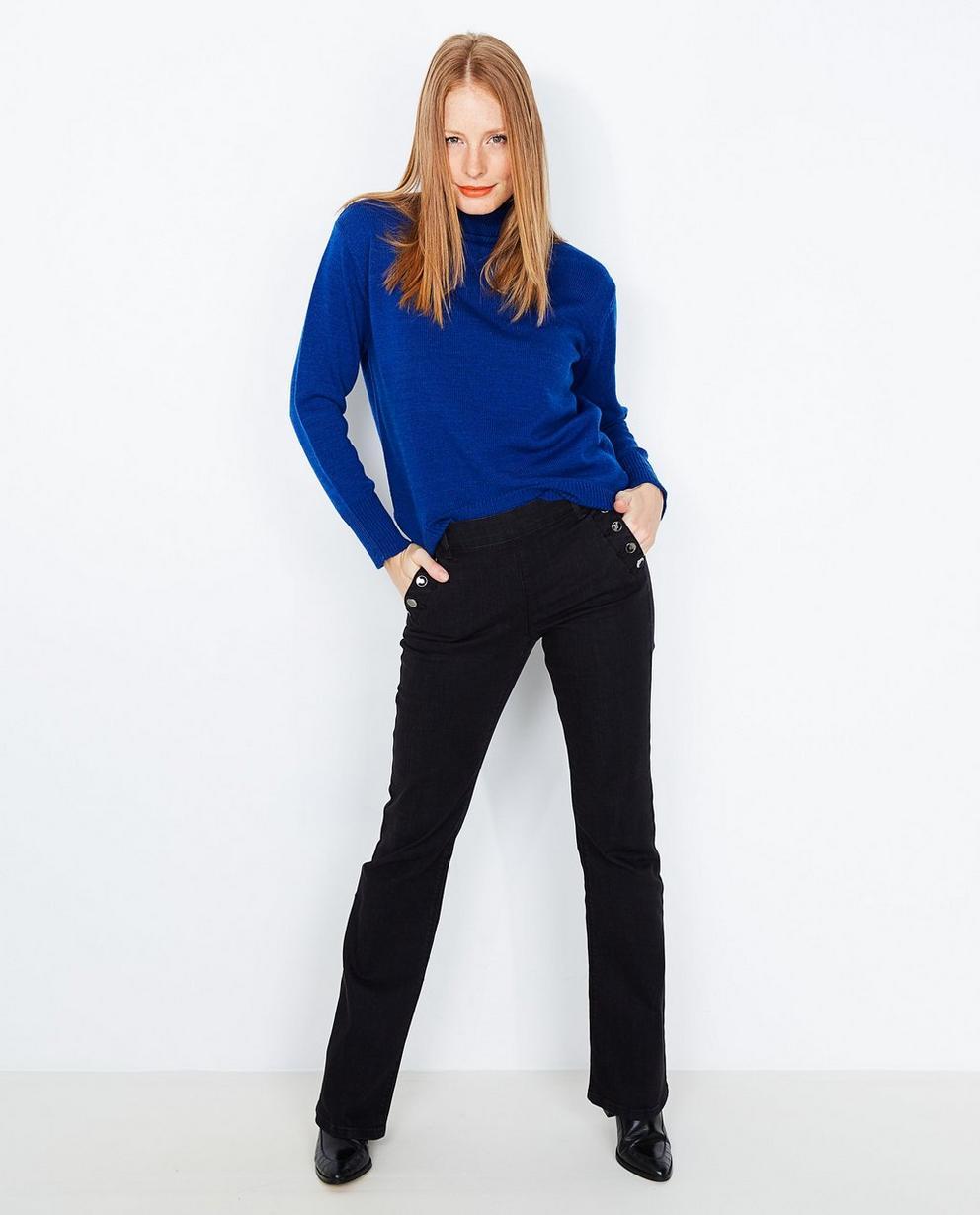 Pull à col roulé bleu roi - en fin tricot - JBC